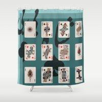 persian Shower Curtains featuring Persian Playing Cards by Negin Khatoun