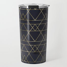 Modern Deco Gold and Marble Geometric Mountains on Navy Blue Travel Mug
