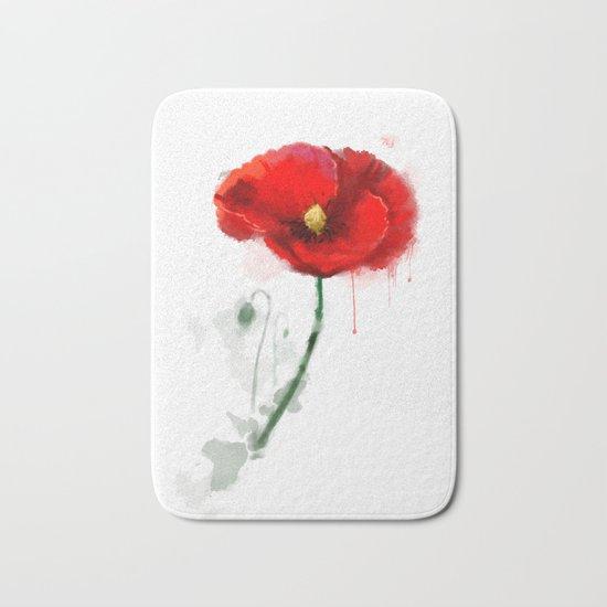 Red Poppy watercolor digital painting Bath Mat