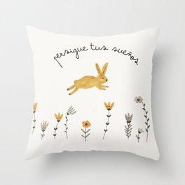 bunny dreams Throw Pillow