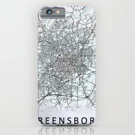 Greensboro, NC, USA, White, City, Map iPhone Case