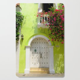 Colorful Green Door in Colonial Cartagena, Colombia Cutting Board