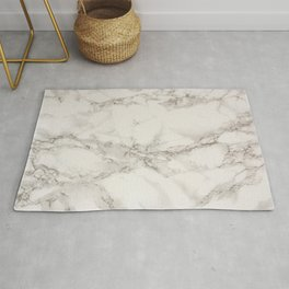 Classic Beige and White Marble Natural Stone Veining Quartz Rug