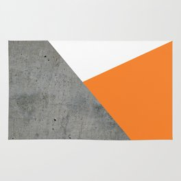 Concrete Tangerine White Rug