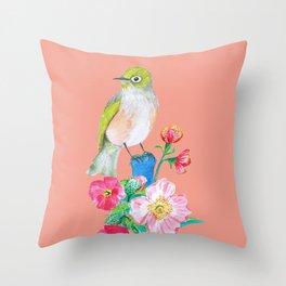 The Silvereye on Peach Pink Throw Pillow