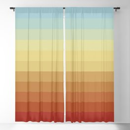 Reverse Sunset- Blue and Orange Colorful Abstract Stripes Blackout Curtain