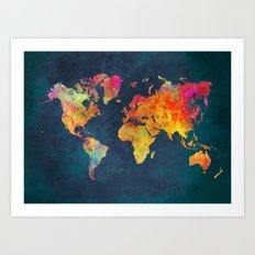 World Map blue Art Print