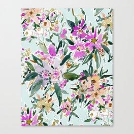 SWEPT AWAY Powder Blue Tropical Floral Canvas Print