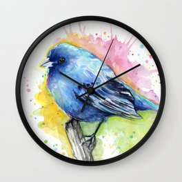 Blue Bird Indigo Bunting Colorful Animals Wall Clock