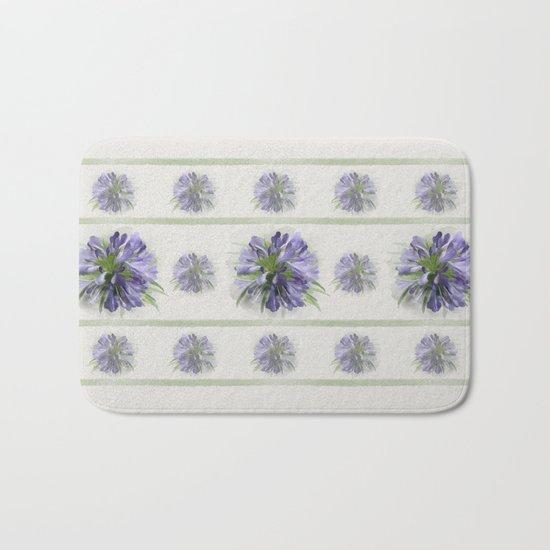 Blue purple flowers Bath Mat