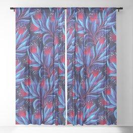 Pohutukawa - Red / Blue Sheer Curtain