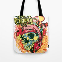 pirate Tote Bags featuring Pirate by Tshirt-Factory