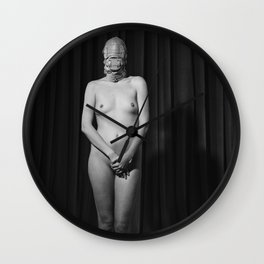 Silent - Nude woman in fetish scene Wall Clock