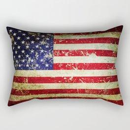 Grunge Vintage Aged American Flag Rectangular Pillow