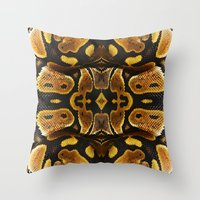 monty python Throw Pillows featuring Ball Python by Moody Muse