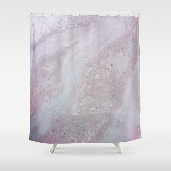 Elegant Pink Polished Marble Shower Curtain By Pixel404