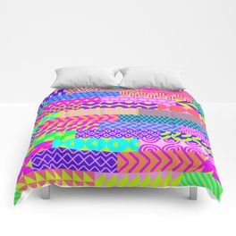 Modern geometrical abstract pink teal lime green stripes Comforters