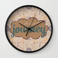 journey Wall Clocks featuring Journey by Skuishy