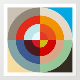Spring - Colorful Classic Abstract Minimal Retro 70s Style Graphic Design Art Print
