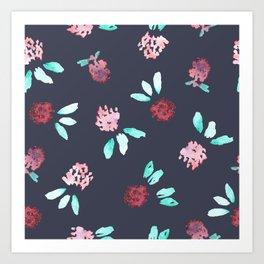 Clover Flowers Pattern on Grey Art Print