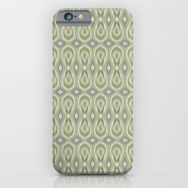 Ikat Teardrops in Sage Green and Gray iPhone Case
