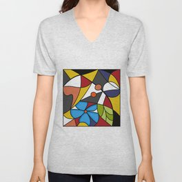 Abstraction. Curves and bends. Color mosaic . Unisex V-Neck