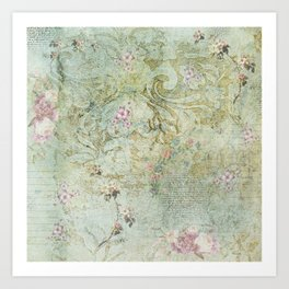 Vintage French Floral Wallpaper Art Print