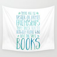 friendship Wall Tapestries featuring Bookish Friendship - Blue by bookwormboutique