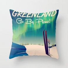 Greenland - Go by Plane! vintage poster Throw Pillow