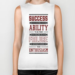 Lab No.4 Success is the ability Sir Winston Churchill Inspirational Quotes Biker Tank