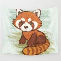 red panda Wall Tapestries featuring Red Panda by Toru Sanogawa