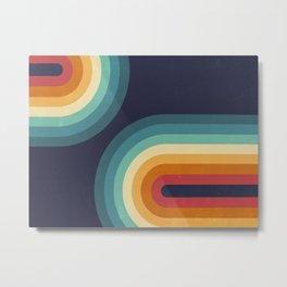 Double Rainbow on Blue Metal Print