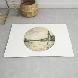 Watercolor Forest and Water Landscape Rug