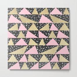 Black White Triangle Pink Gold Geometric Triangles Metal Print