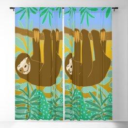 Cute Jungle Sloth Blackout Curtain