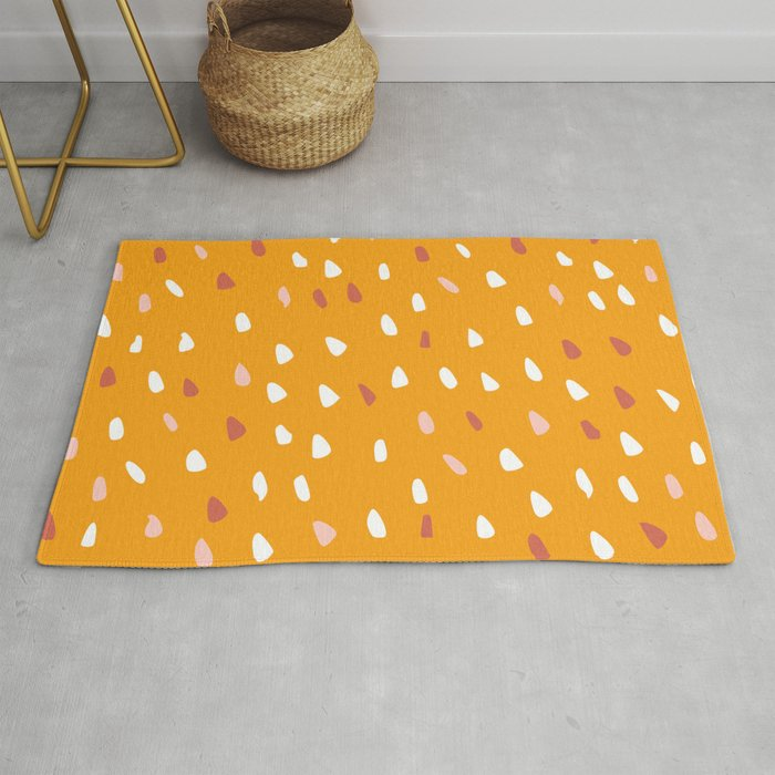 Cute Art Yellow, Speckled Dots, Abstract Art Rug