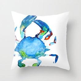 Blue Claw Crab - Nautical - Summer - Ocean - Sea Life Throw Pillow