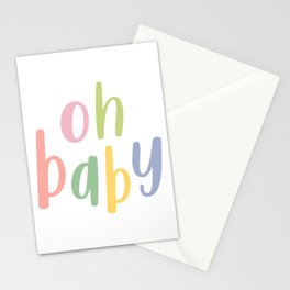 Oh Baby | Colorful Typography Stationery Cards