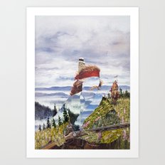 The Unknown Rider To The Far Blue Mountains Art Print