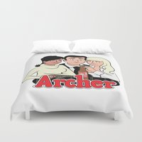 archer Duvet Covers featuring Archer Comics by Jessica Sinclair
