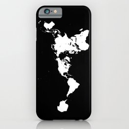 Dymaxion World Map (Fuller Projection Map) - Minimalist White on Black iPhone Case