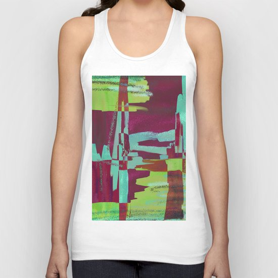 Raspberry Jam - Textured, abstract, raspberry, cyan and green painting Unisex Tank Top