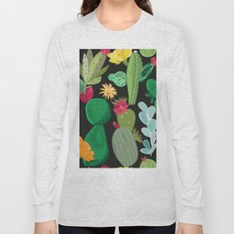 Cactus and Succulents Pattern Long Sleeve T-shirt