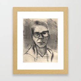 Portrait of brother Jimmy Carter, San Francisco, early 1980s, charcoal Framed Art Print