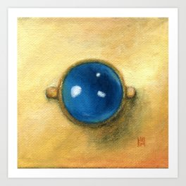 Kyanite gold ring square classic painting Art Print