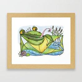 Frog with curls – Lockenfrosch Framed Art Print