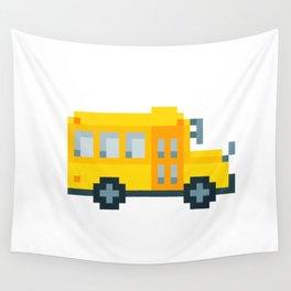 Pixel School Bus Wall Tapestry