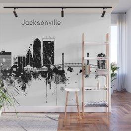 Black and White Jacksonville City Skyline Wall Mural