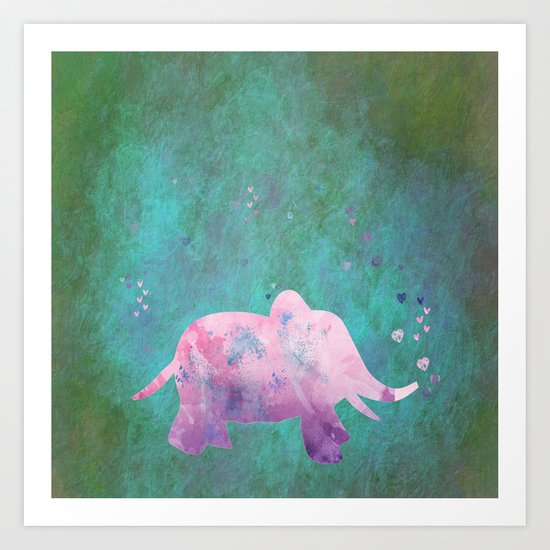 Love is in the air I- Animal Elephant on #Society6 Art Print