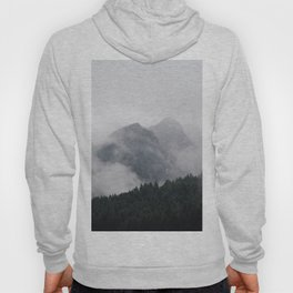 Minimalist Modern Photography Landscape Pine Forest Jagged High Grey Mountains Hoody